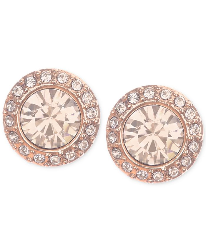 Givenchy - Rose Gold-Tone Pavé Button Stud Earrings