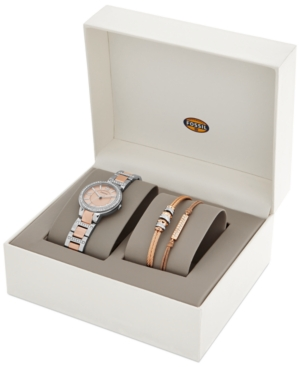 Fossil Women's Virginia Crystal Accent Two-Tone Stainless Steel Bracelet Watch Set 30mm ES3697