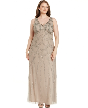 Adrianna Papell Plus Size Bead-Embellished Gown $156.99 AT vintagedancer.com