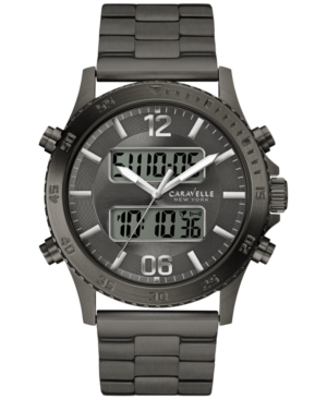 Caravelle New York by Bulova Men's Analog-Digital Black-Tone Stainless Steel Bracelet Watch 44mm 45B136