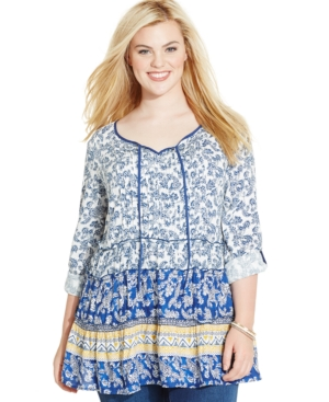 Style & Co. Plus Size Floral-Print Tiered Peasant Top
