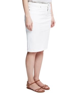 Violeta by Mango Plus Size Denim Pencil Skirt,  White Wash plus size,  plus size fashion plus size appare
