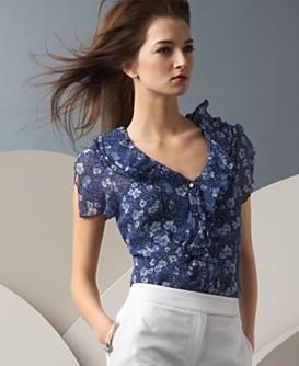 Macy*s - Women's - O Oscar Floral-Print Flutter-Sleeve Blouse :  floral women oscar top