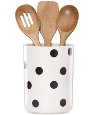 kate spade new york all in good taste Deco Dot Utensil Crock and Wooden Utensils
