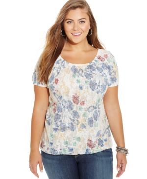 American Rag Plus Size Floral-Print Blouson Top