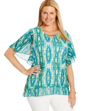 Jm Collection Plus Size Printed Butterfly-Sleeve Top