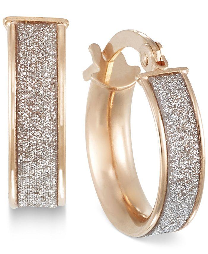 Italian Gold - Glitter Hoop Earrings in 14k Gold