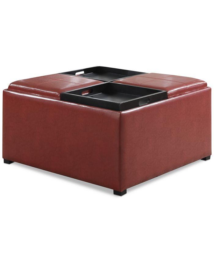 Simpli Home - Avalon Faux Leather Coffee Table Storage Ottoman, Direct Ship