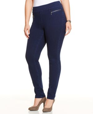 Style & Co. Plus Size Pull-On Skinny Jeggings, Galaxy Wash