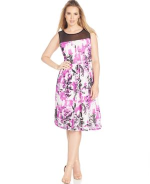 Inc International Concepts Plus Size Illusion Floral-Print A-Line Dress