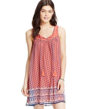 As U Wish Juniors' Printed Tassel-Tie Peasant Dress