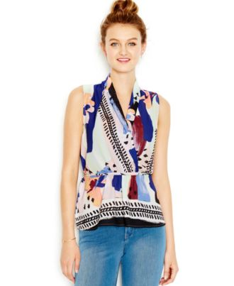 Bar III Sleeveless Printed Surplice Top