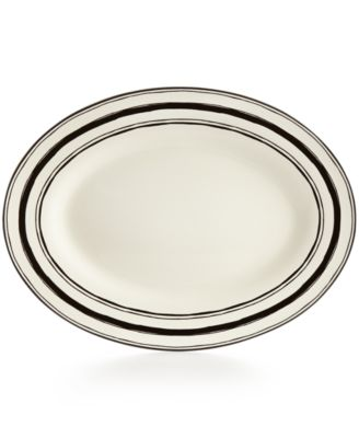 "Lenox Around The Table Collection Stoneware Stripe 16"" Oval Platter"