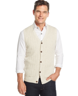 Tasso Elba Big and Tall Cable-Front Sweater Vest Only at Macys $65.00 AT vintagedancer.com