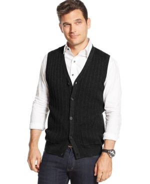 Tasso Elba Big and Tall Cable-Front Sweater Vest Only at Macys $32.99 AT vintagedancer.com