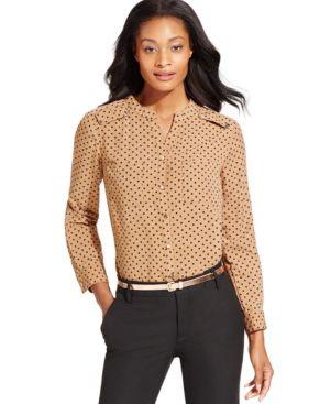 Ny Collection Collarless Dot-Print Shirt