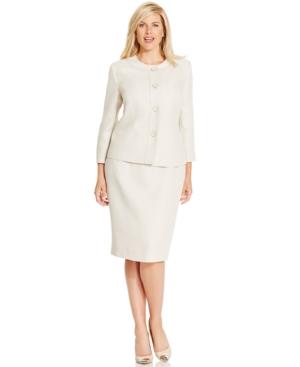 Le Suit Plus Size Four-Button Tweed Skirt Suit