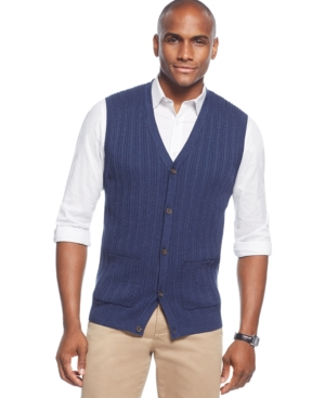 Tasso Elba Big and Tall Cable-Front Sweater Vest Only at Macys $39.99 AT vintagedancer.com