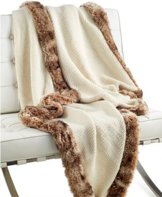 Hotel Collection Faux Fur Trim Knit Throw, Only at Macy's
