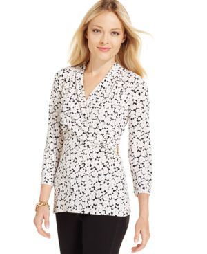 Charter Club Crossover Wrap Top, Floral Print