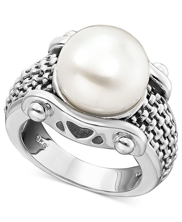 Macy's - White Freshwater Pearl Braid-Band Ring in Sterling Silver (11mm)