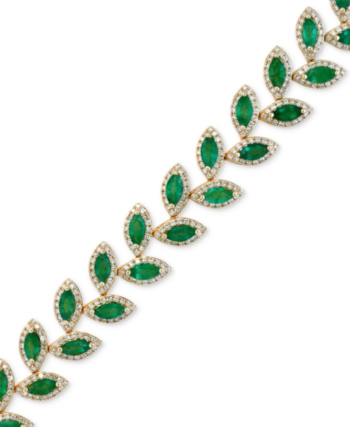 EFFY Collection EFFY® Emerald (10-4/5 ct. t.w.) and Diamond (2-1/2 ct. t.w.) Tennis Bracelet in 14k Gold & Reviews - Bracelets - Jewelry & Watches - Macy's