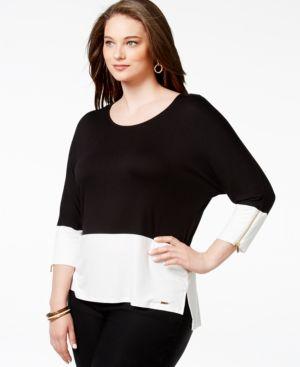 Calvin Klein Plus Size Zippered Dolman-Sleeve Colorblock Top