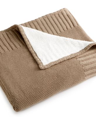 CLOSEOUT! Martha Stewart Collection Reversible Sweater Knit Throw, Only at Macy's