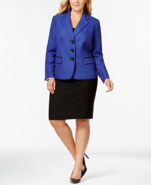 Le Suit Plus Size Contrast-Trim Twill Skirt Suit