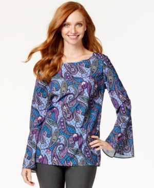 Eci Bell-Sleeve Paisley-Print Top