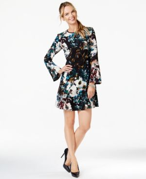 Eci Bell-Sleeve Floral-Print Flare Dress