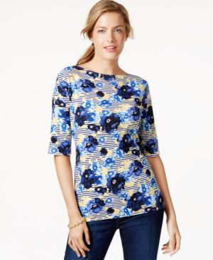 Charter Club Boat-Neck Floral-Print Top, Only at Macy's
