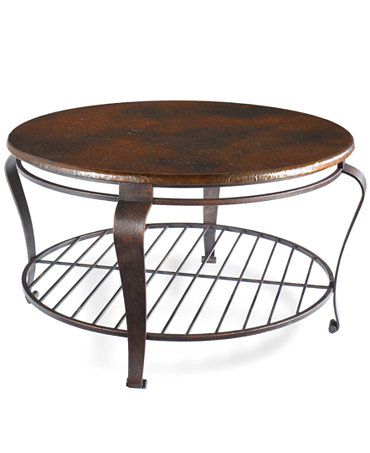 Clark Copper Round Coffee Table Furniture Macy 39 S