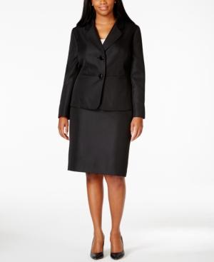 Le Suit Plus Two-Button Skirt Suit