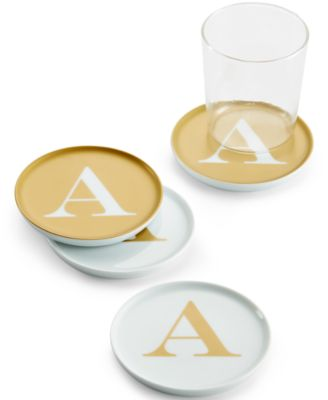 "The Cellar Gold Initial Coasters Collection Porcelain Set of 4 Initial ""A"" Coasters, Only at Macy's"