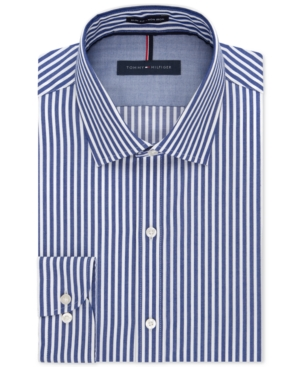 Tommy Hilfiger Slim-Fit Non-Iron Blue Bold Bengal Stripe Dress Shirt $34.99 AT vintagedancer.com