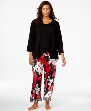 Oscar de la Renta Plus Size Long Sleeve Top and Pajama Pants Set