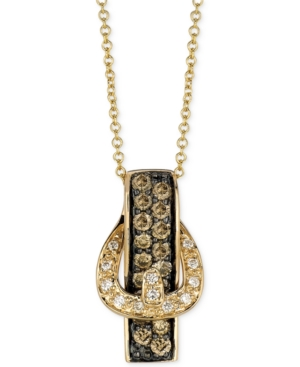 Le Vian Diamond 14k Gold White and Chocolate Diamond Buckle Pendant (1/2 ct. t.w.)