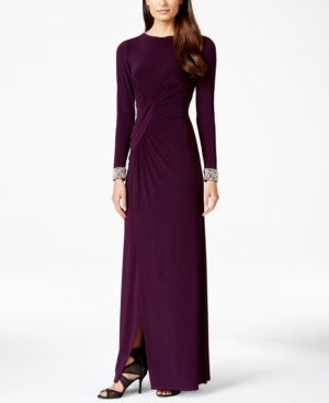 Vince Camuto Long-Sleeve Embellished Faux-Wrap Gown $189.00 AT vintagedancer.com