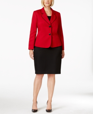Le Suit Plus Size Two-Button Colorblocked Skirt Suit