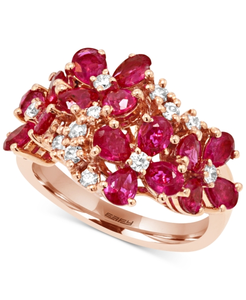 Effy Ruby (3 ct. t.w.) and Diamond (1/3 ct. t.w.) Flower Ring in 14k Rose Gold