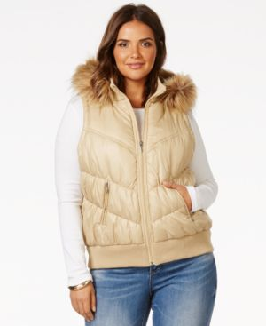 Inc International Concepts Plus Size Faux-Fur-Trimmed Hooded Puffer Vest, Only at Macy's