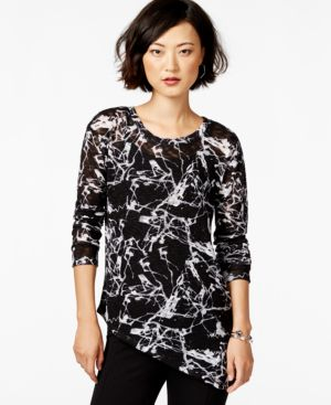 Bar Iii Printed Asymmetrical Snit Top, Only at Macy's