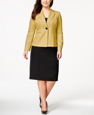 Le Suit Plus Size Two-Button Colorblocked Skirt Suit