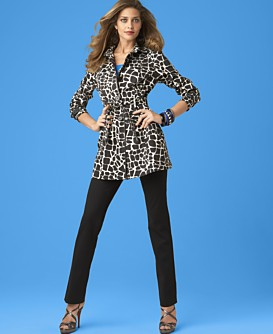 INC International Concepts® Animal-Printed Short Trench Coat, Seamless Tank & Slim-Leg Ankle Pant
