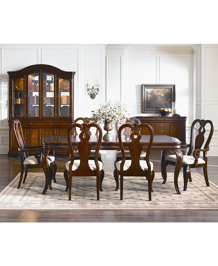 Furniture Closeout Bordeaux 7 Piece Dining Room Furniture Set Created For Macy S Dining Table 2 Queen Anne Arm Chairs 4 Queen Anne Side Chairs Reviews Furniture Macy S