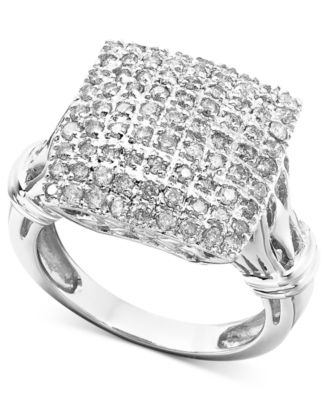 14k White Gold Diamond Square Cluster Ring (1 ct. t.w.)