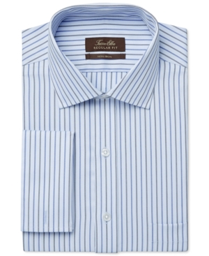 Tasso Elba Non-Iron Blue Textured Stripe French Cuff Dress Shirt Only at Macys $39.99 AT vintagedancer.com