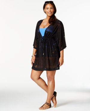 Dotti Plus Size Laser-Cut Dress Cover Up Women's Swimsuit