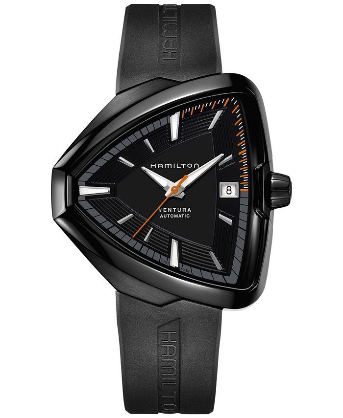 Hamilton - Unisex Swiss Automatic Ventura Elvis80 Black Rubber Strap Watch 43x45mm H24585331